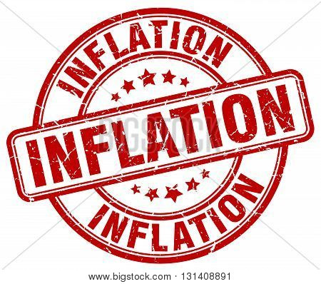 inflation red grunge round vintage rubber stamp.