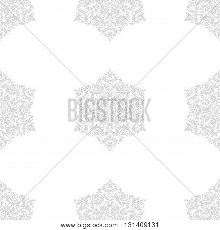 Oriental classic pattern. Seamless abstract light silver background