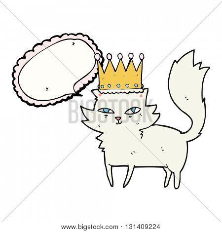 freehand drawn speech bubble cartoon posh cat