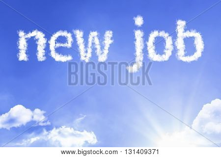 New Job cloud word with a blue sky