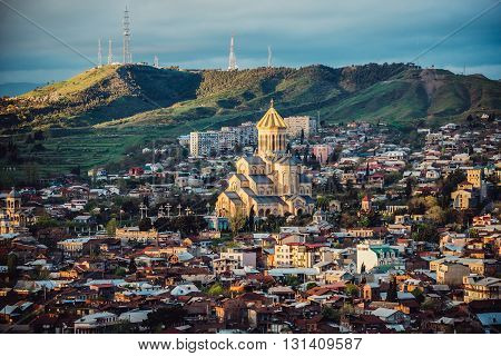 Aerial view on Tbilisi with Holy Trinity Cathedral (left side)