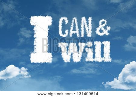 I Can and I Will cloud word with a blue sky