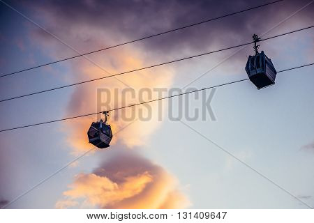 aerial tramway over old town in Tbilisi Georgia