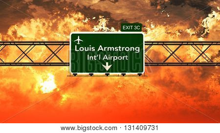 Passing Under New Orleans Louis Armstrong Usa Airport Highway Sign In A Beautiful Cloudy Sunset