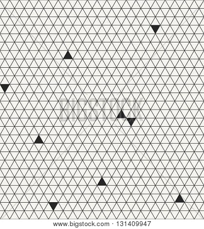 Abstract hexagonal seamless pattern with structure of repeating triangles and irregular missing pieces. Modern stylish outlined geometric ornament. Repeating texture for fabric or wallpapers.