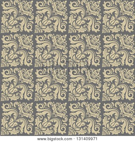 Damask seamless ornament. Traditional golden diagonal pattern. Classic oriental background