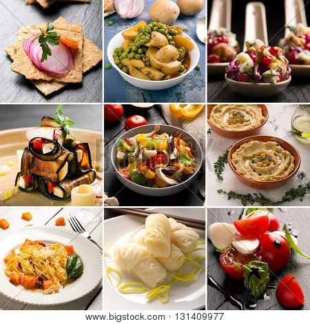 Collage of photos of natural vegetarian dishes