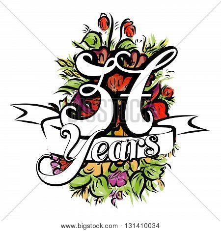 37 Years Greeting Card Design