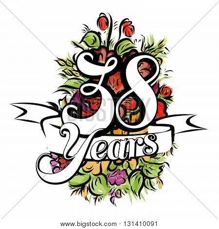 38 Years Greeting Card Design