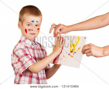 Face and palms pretty boy painted vibrant colors isolated on white background.
