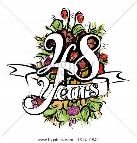 48 Years Greeting Card Design