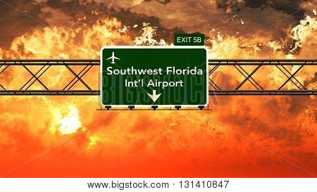 Passing Under Southwest Florida Usa Airport Highway Sign In A Beautiful Cloudy Sunset