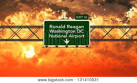 Passing Under Washington Ronald Reagan Usa Airport Highway Sign In A Beautiful Cloudy Sunset