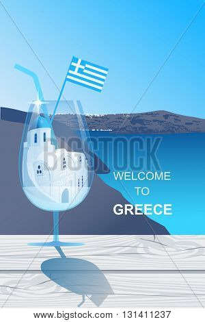 Cocktail glass with white church with blue dome at Santorini island standing on the wooden cracked table. Welcome to Greece vector illustration