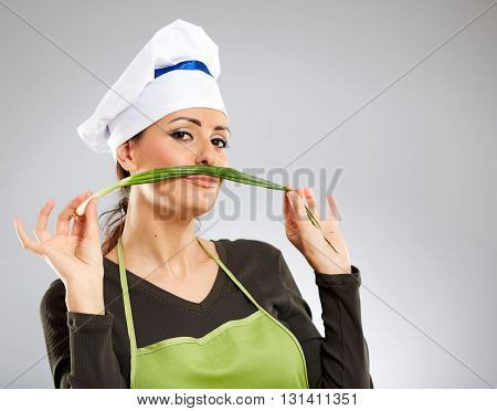 Woman Cook Playing With Spring Onion