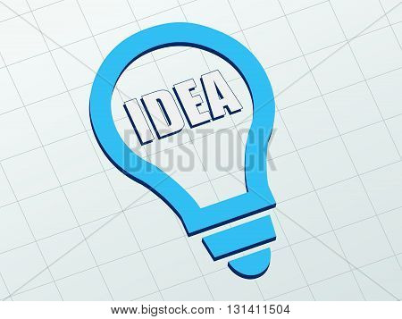 idea in light bulb sign - white text and blue symbol flat design, business creative concept, vector