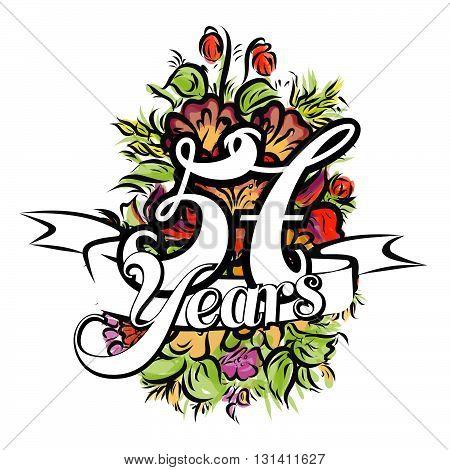 57 Years Greeting Card Design