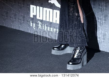 NEW YORK-FEB 12: Recording artist Rihanna shoes at the FENTY PUMA by Rihanna AW16 Collection during Fall 2016 New York Fashion Week at 23 Wall Street on February 12, 2016 in New York City.