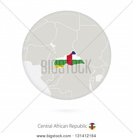 Map Of Central African Republic And National Flag In A Circle.