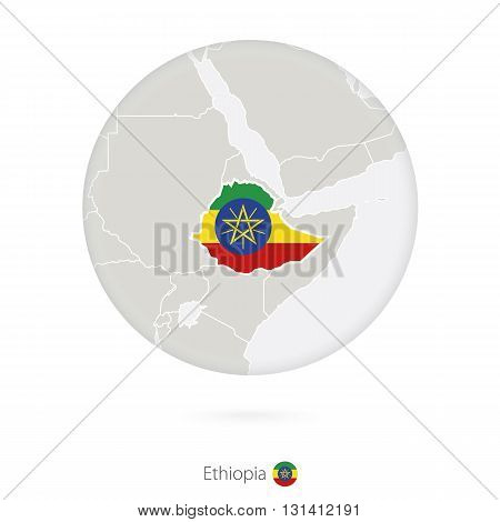 Map Of Ethiopia And National Flag In A Circle.