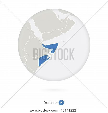 Map Of Somalia And National Flag In A Circle.