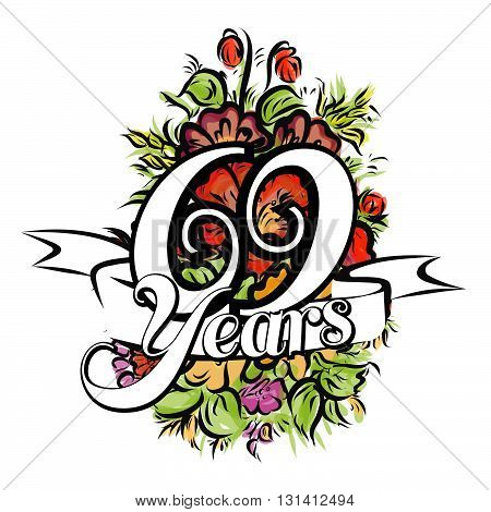 69 Years Greeting Card Design