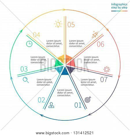 Outline circular infographics. Business diagram with 7 steps. Vector template.