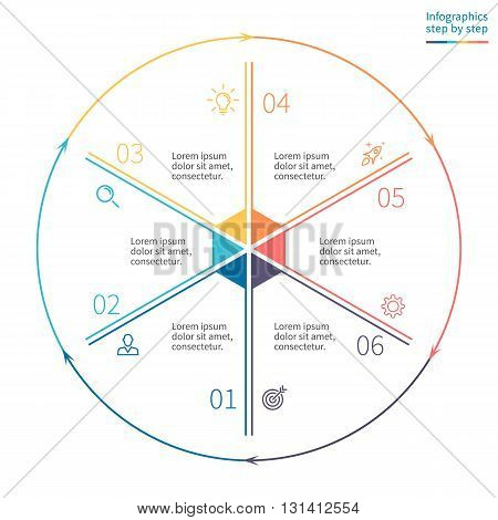 Outline circular infographics. Business diagram with 6 steps. Vector template.