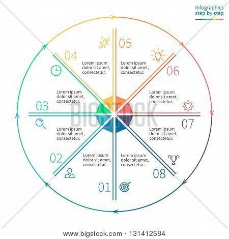 Outline circular infographics. Business diagram with 8 steps. Vector template.