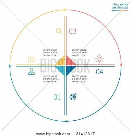 Outline circular infographics. Business diagram with 4 steps. Vector template.