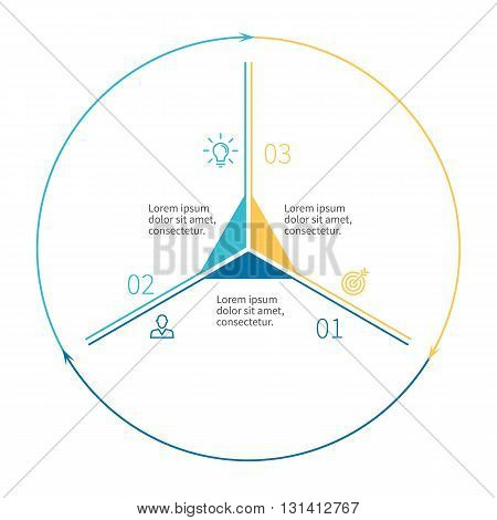 Outline circular infographics. Business diagram with 3 steps. Vector template.