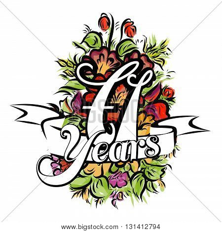 71 Years Greeting Card Design