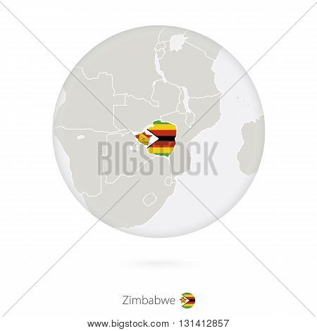 Map Of Zimbabwe And National Flag In A Circle.