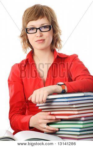 Portrait of a pretty student. Shot in a studio.