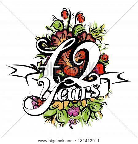 72 Years Greeting Card Design