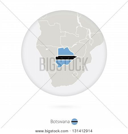 Map Of Botswana And National Flag In A Circle.