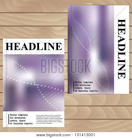 Vector Template For Brochures, Covers, Flyers Or Business Reports. Lilac Background Blur. Dna. Molec