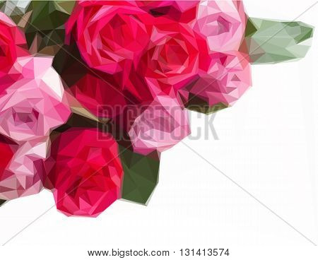 Low poly illustration border of pink rose flowers close up