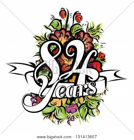84 Years Greeting Card Design