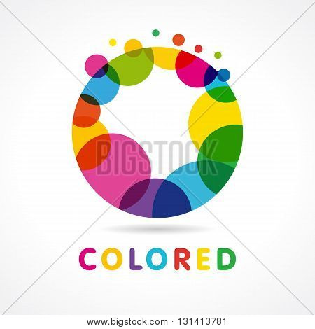 Colored abstract circle O logo. Design template element abstract colorful bubble of vector letter O logo