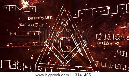 The Free Masonic Grand Lodge Sign And Illuminati Secret Characters In An Abstract Drawing Grungy Des