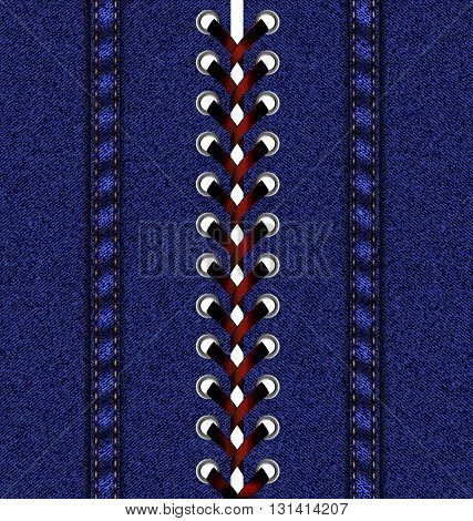 abstract jeans background and large red lacing