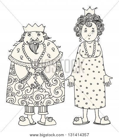 King and Queen on white background. Hand drawn illustration
