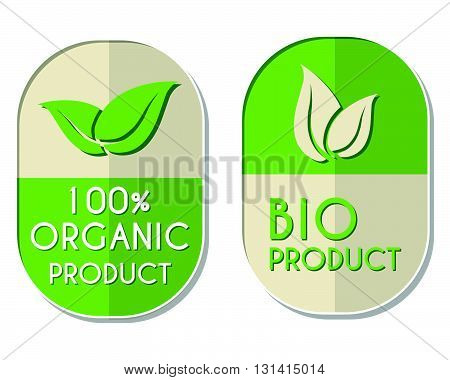 100 percent organic and bio product with leaf signs banners, two elliptic flat design labels with text and symbol, business eco concept, vector