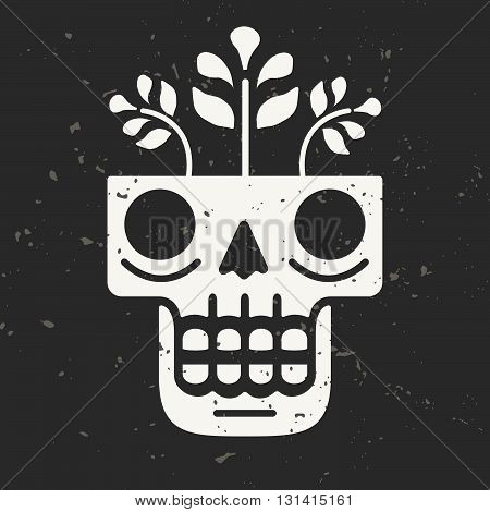 Hand drawn skull with flowers growing through it. Concept of eternal life. Modern vector illustration in traditional Mexican art style with grunge background. Perfect for prints posters textiles.