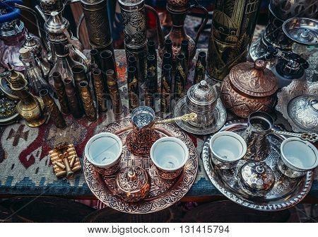 coffee service on souvenirs stand on bazaar in Sarajevo Bosnia and Herzegovina