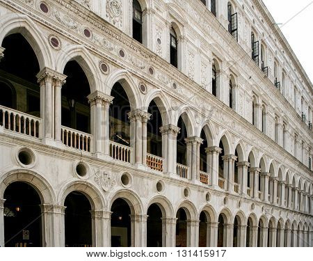 Building frontage in Saint Marks Square Venice Italy
