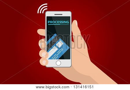 Processing of mobile payments vector template illustration