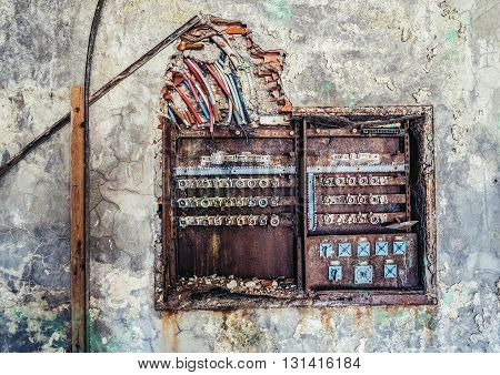 electricity board in abandoned hotel in former Tourist Complex of Kupari village Croatia