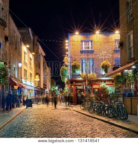 Night street scene in the Dublin Ireland Temple Bar